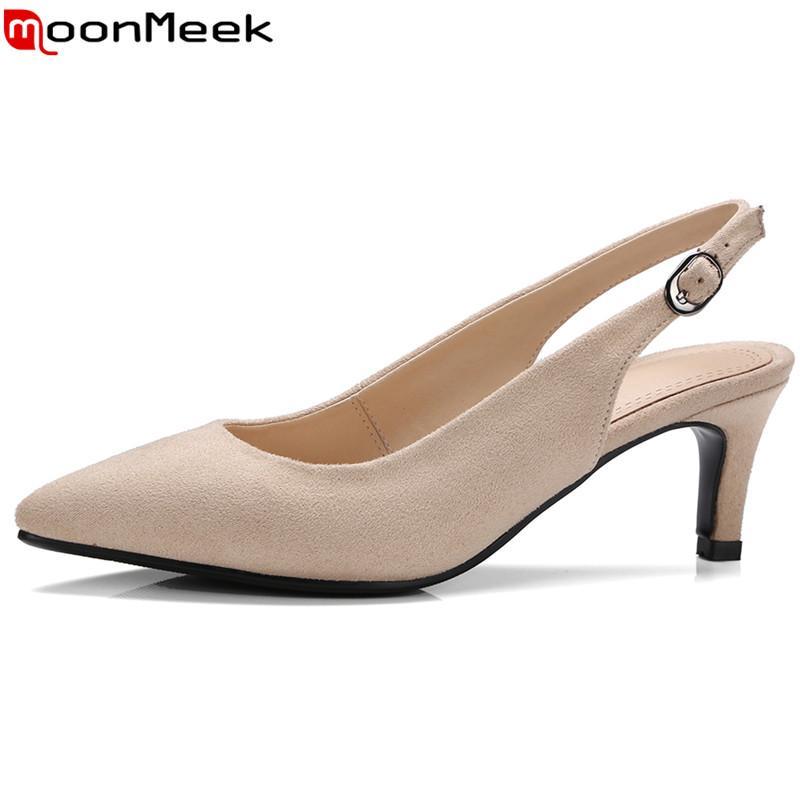 0698480176 Compre Sapatos De Grife MoonMeek Faux Camurça Mulheres Bombas De Alta  Qualidade Dedo Do Pé Apontado Slingback Com Fivela Senhoras Verão Vestido De  Senhora ...