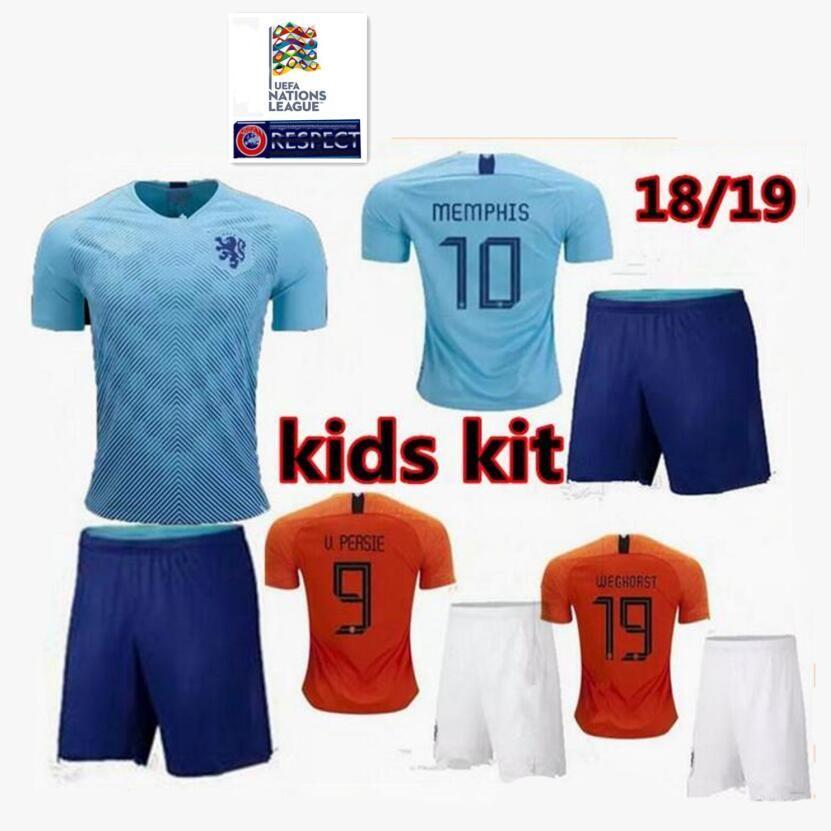 finest selection 04dae 44b02 kids kit 2018 2019 new Nederland soccer jersey 18 19 home orange  netherlands HOLLAND ROBBEN SNEIJDER V.Persie Dutch away football shirts