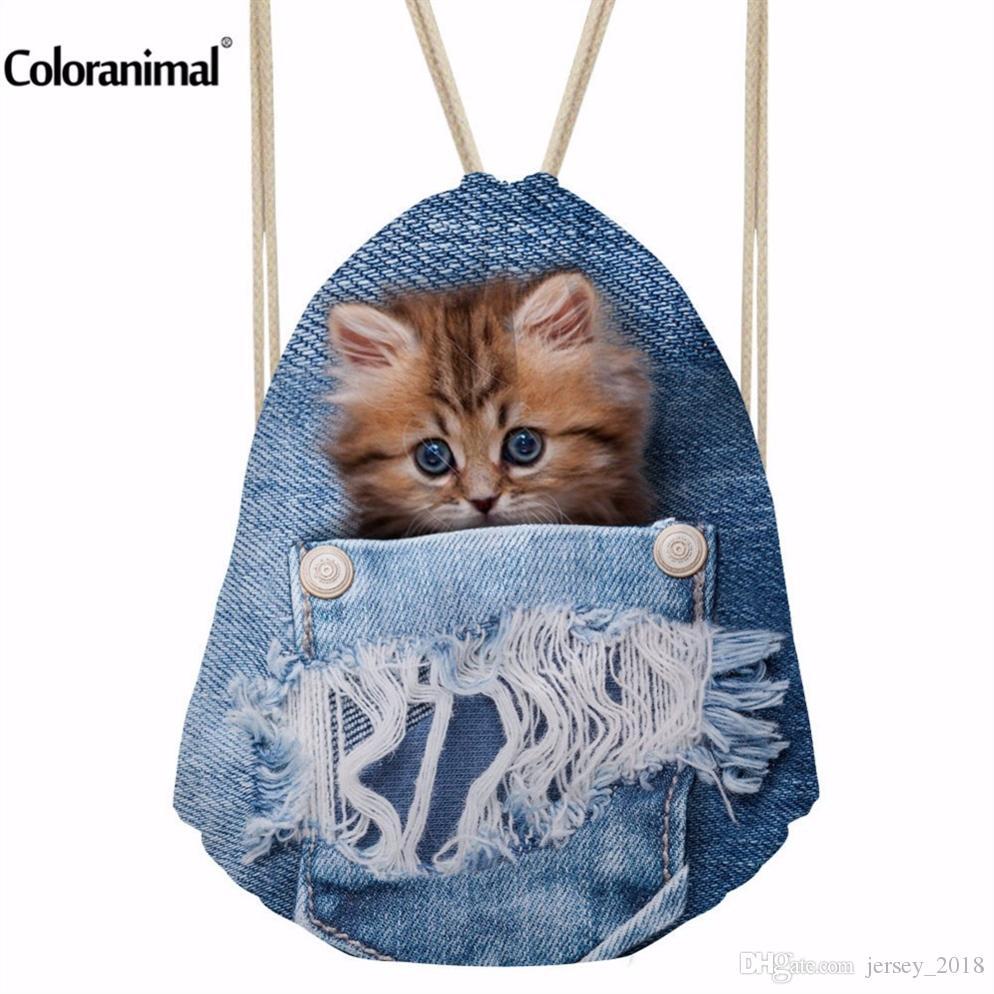56372a0f307d INSTANTARTS Sport Bag Gym Sack Blue Denim Cute Animal Cat Printing  Drawsting Backpack for Children Boys Girls Women Fitness Bags #86843