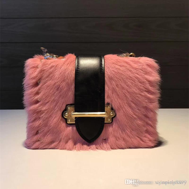 Fashion Ladies Women Handbag Real Fur Cahier Rivet Calfskin Genuine Leather  Crossbody Bag Handbags Top Quality Shoulder Bags Bolsa Feminina Cheap  Handbags ... 098b56d85eed8