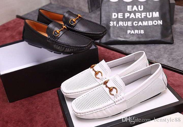 Brand Design men cow leather dress shoe Slip-On formal Suit Business Office Shoe Flat Doug Driving shoe Breathable Horsebit Loafers,38-44