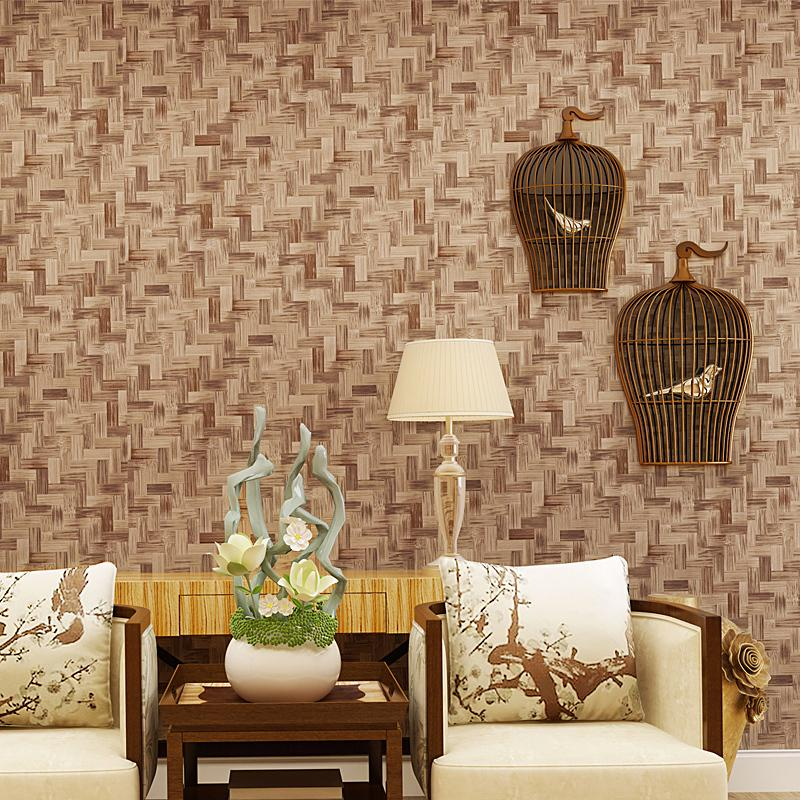 Imitation Style Chinese Straw Bamboo Textured Wallpaper Living Room Bedroom Backdrop 3d Pvc Waterproof Wall Paper Rolls