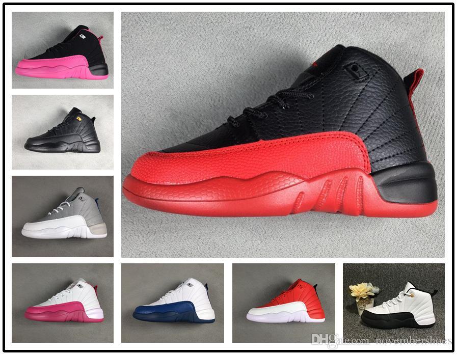 on sale fdf80 56819 Acheter Nike Air Jordan Aj12 2019 Garçons Filles 12 12s Gym Rouge Hyper  Violet Violet Enfants Chaussures De Basketball Enfants Rose Blanc Bleu Gris  Foncé ...