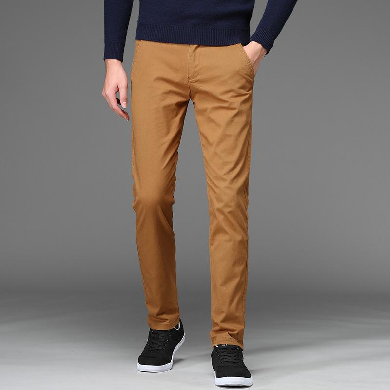 Casual Pants Male Straight Cotton Basic Clasicc Men's Pants Black Khaki Pantalones Hombre Trousers Men Big Size 42 44 46