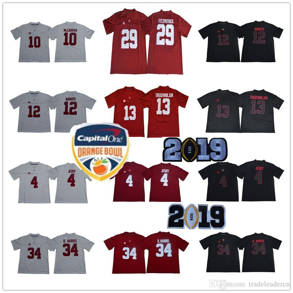Alabama Crimson Tide 13 Tua Tagovailoa 29 Fitzpatrick 34 D.Harris Jerry  Jeudy McCarron Joe Namath 2018 NCAA Orange Bowl Championship Jerseys  Tagovailoa ... e5f5f27d7