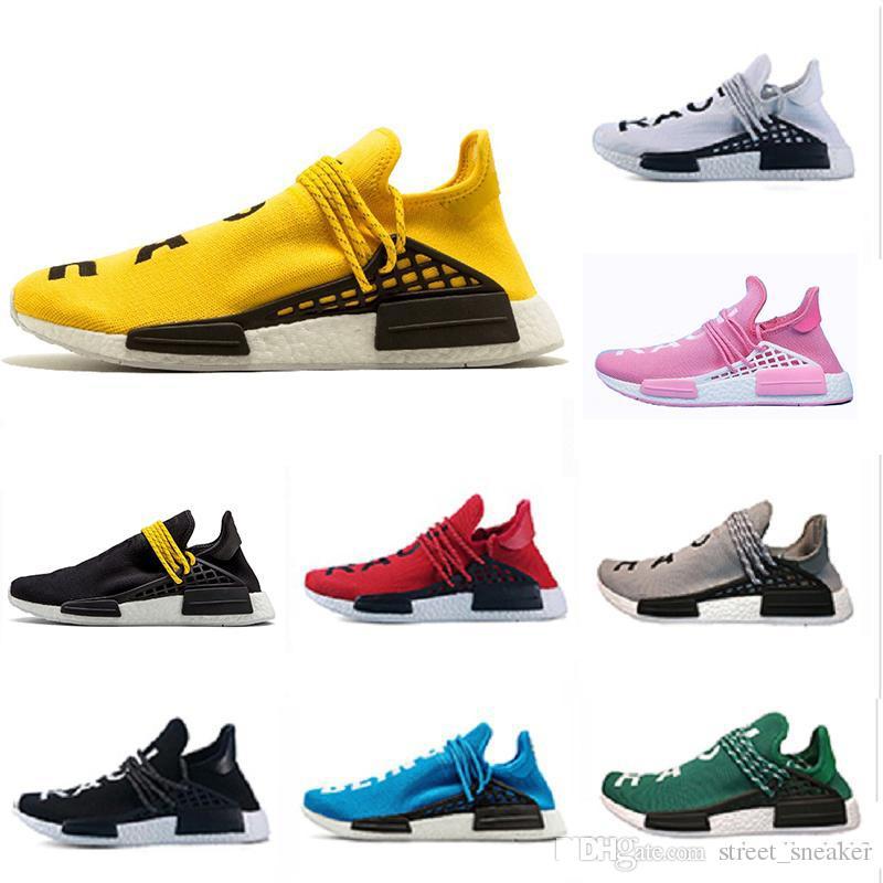 buy online eea4e 22a01 Acheter Adidas NMD Hu 36 47 NMD Course Sur Piste Homme Chaussures De Course  Hommes Femmes Pharrell Williams HU Coureur Jaune Noir Blanc Rouge Vert Gris  Bleu ...