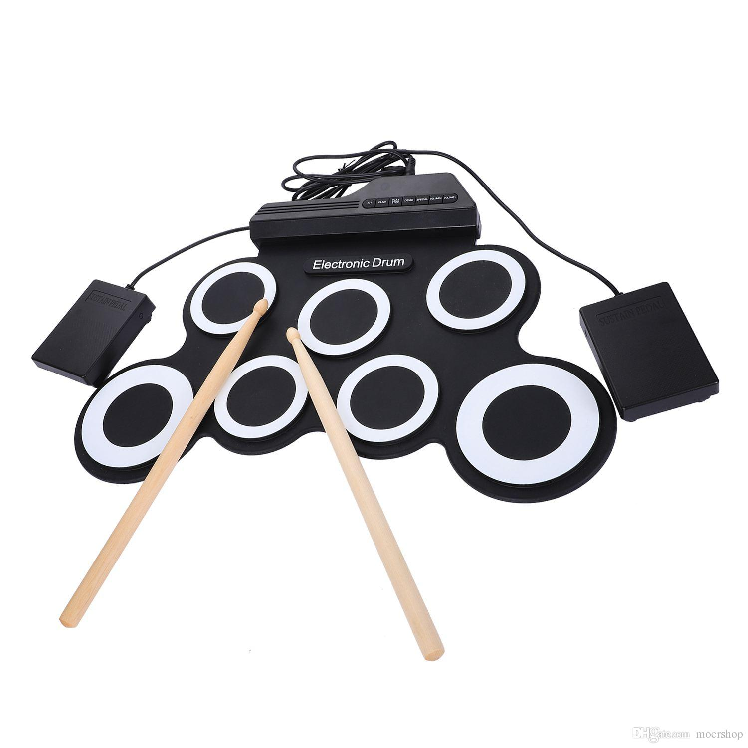 Portable Electronic Roll Up Drum Pad Set 9 Silicon Pads Built-In Speakers With Drumsticks Foot Pedals Usb 3.5Mm Audio Cable Uk7 Pads Portabl