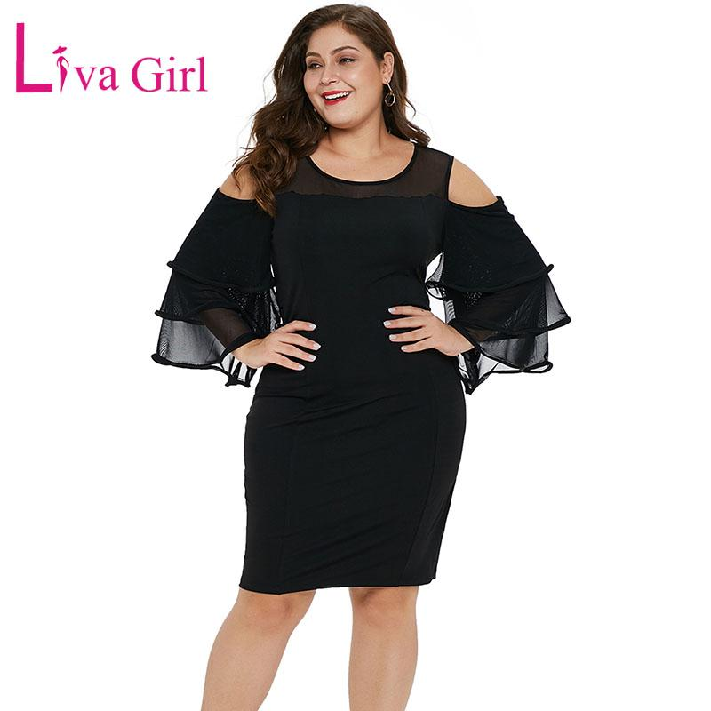 eaa30f7ffc LIVA GIRL Sexy Cold Shoulder Plus Size Party Dress Women Chic Cascading  Ruffle Sleeve Bodycon Midi Dresses Big Size Vestidos 5XL Green Dress Pink  Dress From ...