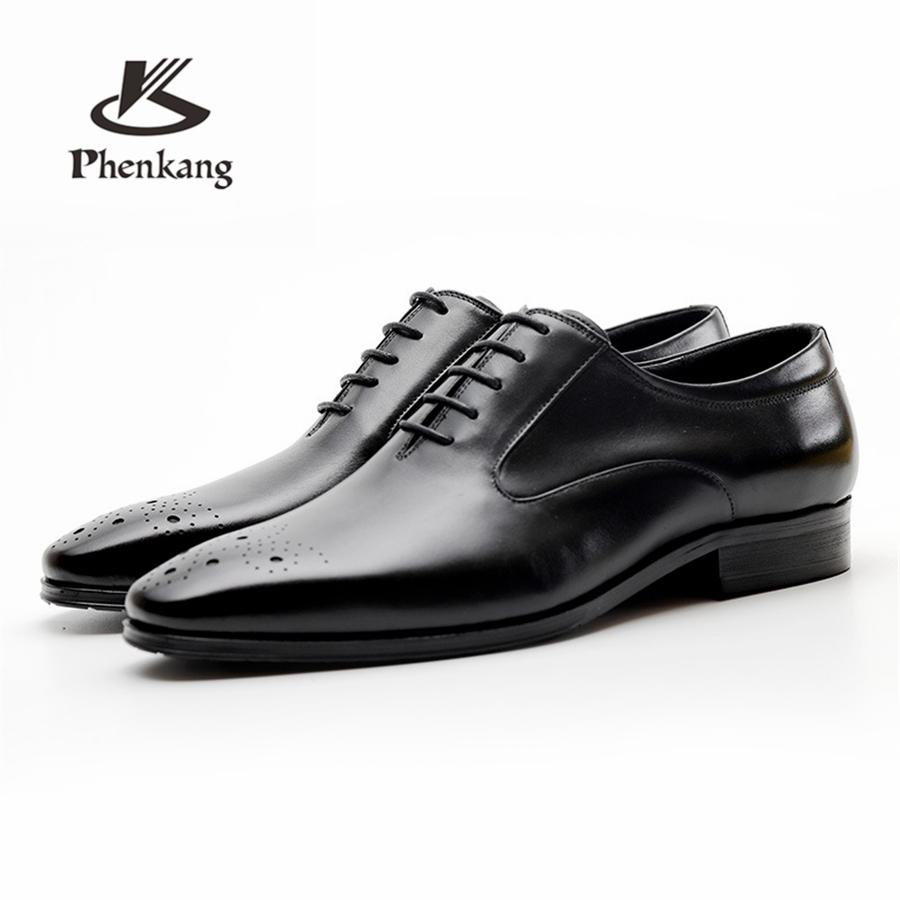 Genuine Cow Leather Brogue Business Wedding Shoes Men Casual Flats Shoes Vintage Handmade Sneaker Oxford Shoes For Men Black Red Pottery & Glass