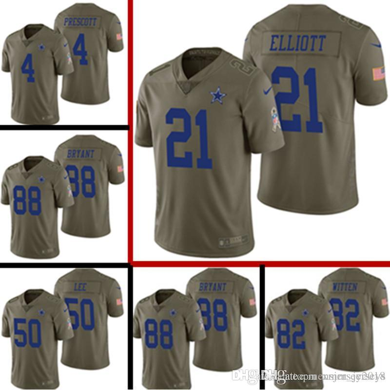 quality design 26d14 8ad7b 2017 Salute to Service Dallas Cowboys Jersey Mens 21 Ezekiel Elliott 4 Dak  Prescott 50 Sean Lee 82 Jason Witte 88 Bryant Football Jerseys