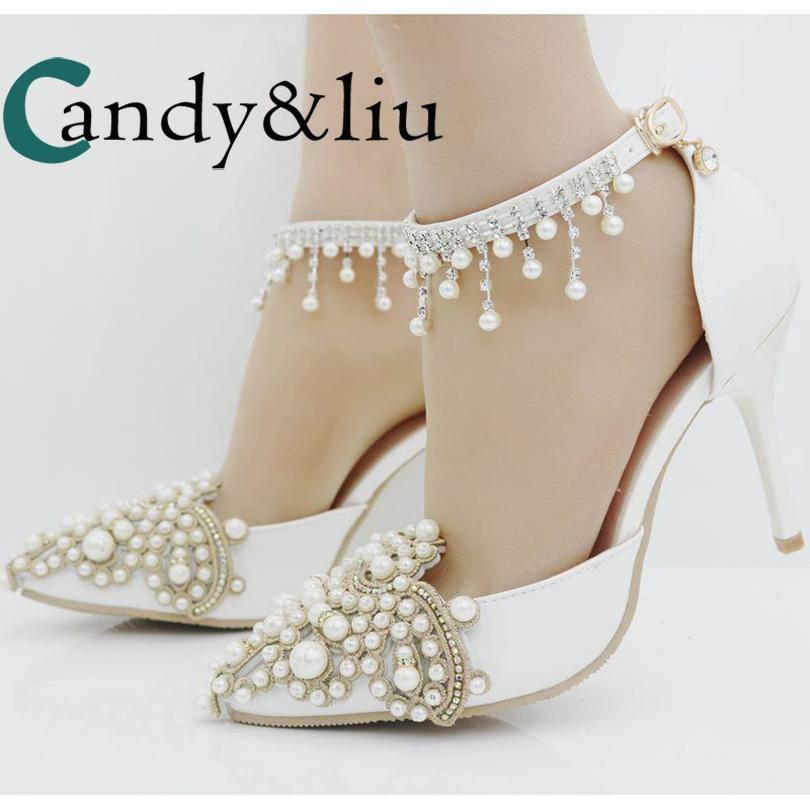 String Bead White Pearl Flowers Wedding Shoes Pointed Toe Ankle Strap  Sandals Large Size Handmade Women Shoes For Party Banquet Heels Gladiator  Sandals From ... 9b4e9d688219