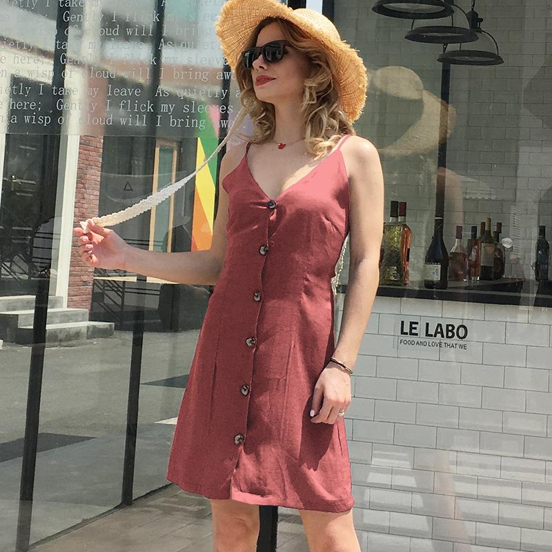 Hot Design Wholesale Women Party Sexy Dress Summer Club Fashion Casual Mini for Lady Female V Neck Dresses S-2XL 6 Colors