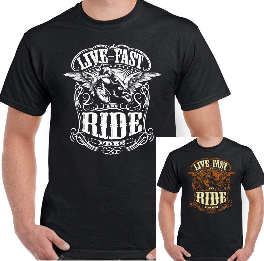 reputable site caa78 8b64b Live Fast Ride Free Herren Lustiges Biker T-Shirt Motorrad Indian