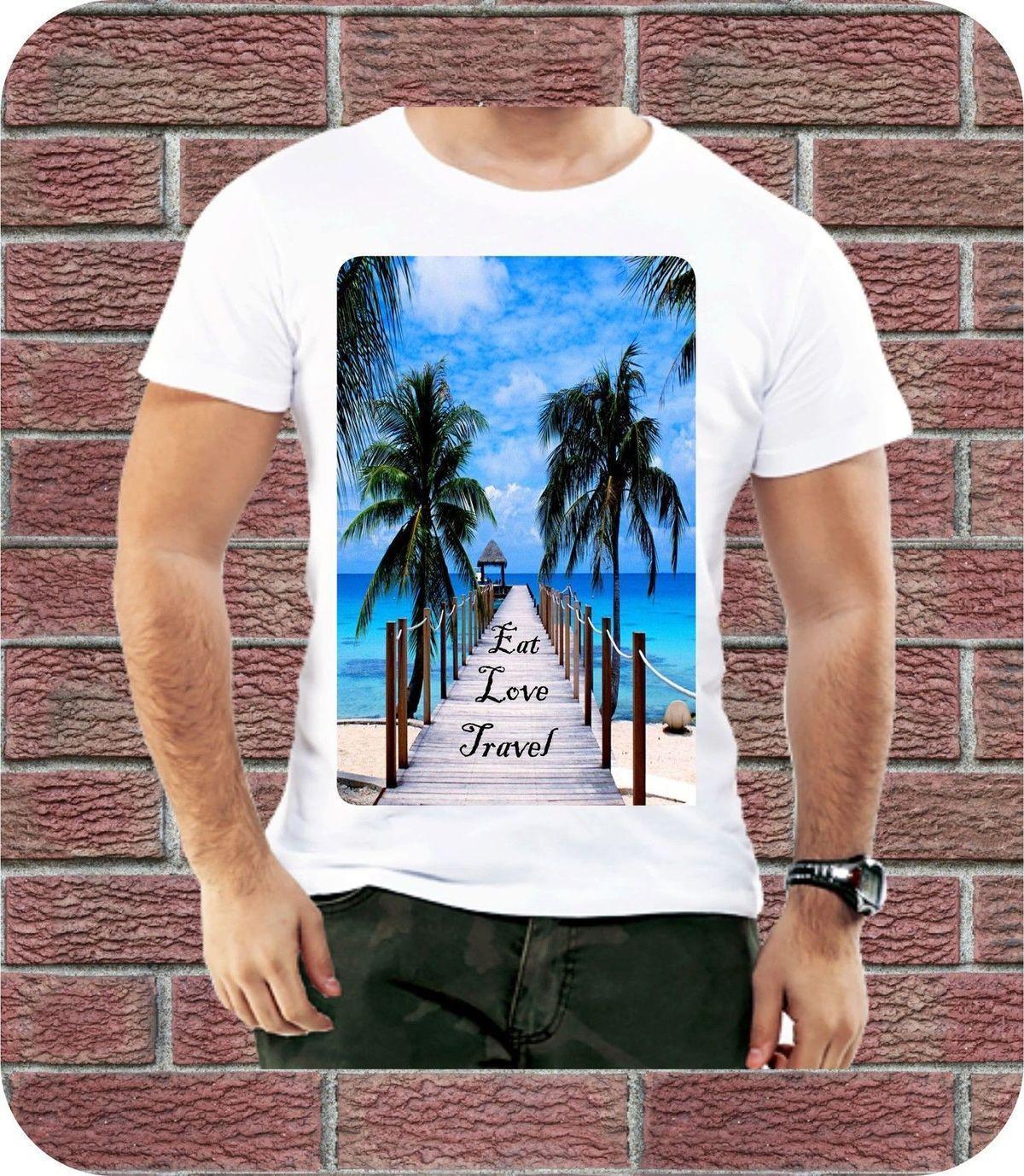 Eat Love Travel Summer Sea Dream Cool Men T shirt Peace Love Beach Palm  Design
