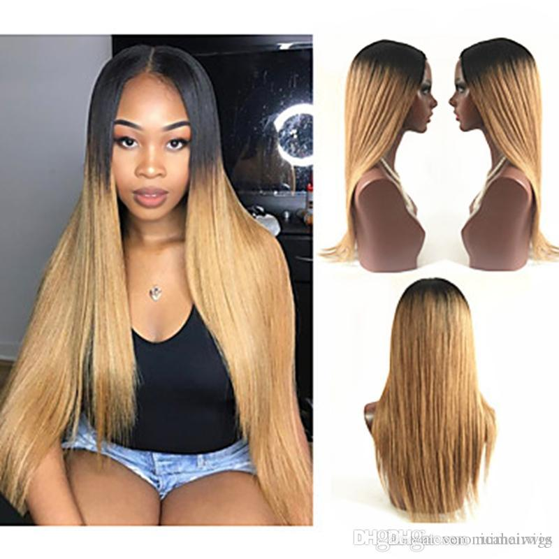 Hot Popular Ombre Wig Dark Root Black Brown Long Silky Straight Wig Middle Part 180% Density Synthetic Lace Front Wigs For Women