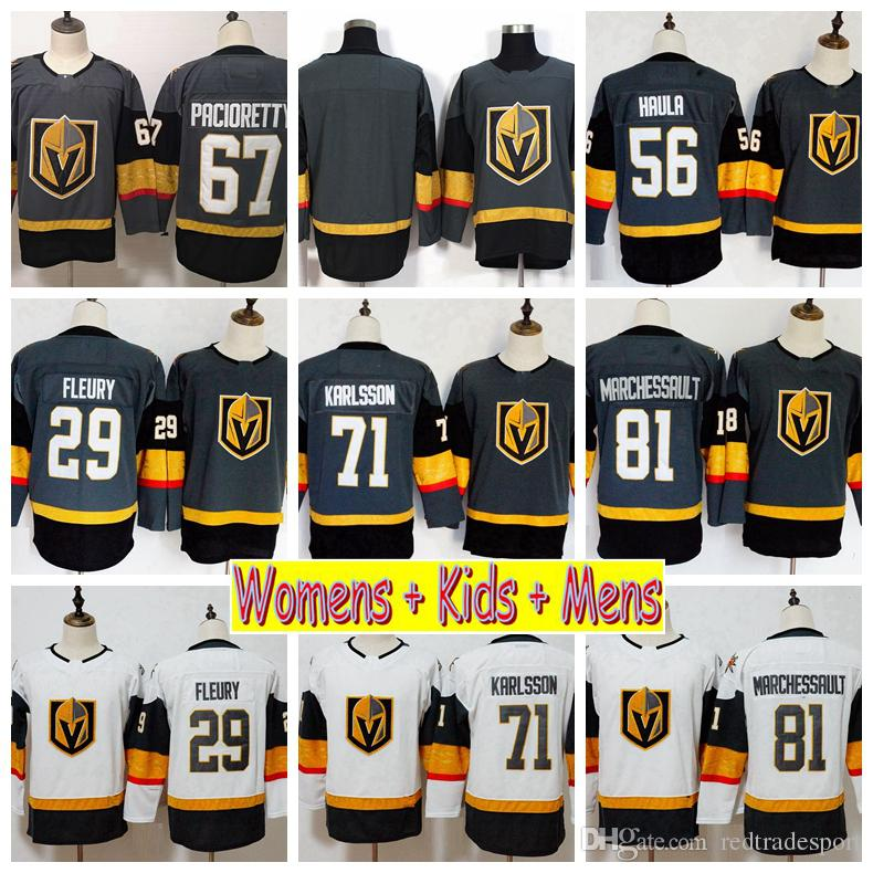 2019 Youth Vegas Golden Knights 29 Marc-Andre Fleury William Karlsson 67 Max Pacioretty Marchessault Haula Kids Womens Mens Hockey Jerseys