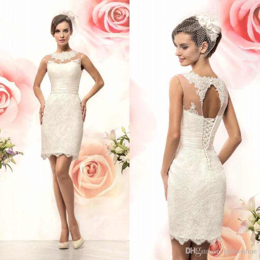 Discount Jewel Neckline Sleeveless Short Lace Wedding Reception