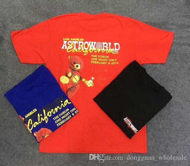86544fef6aea 19ss Travis Scott Astroworld LA T Shirt Men Women 1a:1 Best Quality Tie  Dyeing Short Sleeve Mens Summer T Shirts Crazy T Shirt Design Comedy T Shirt  From ...