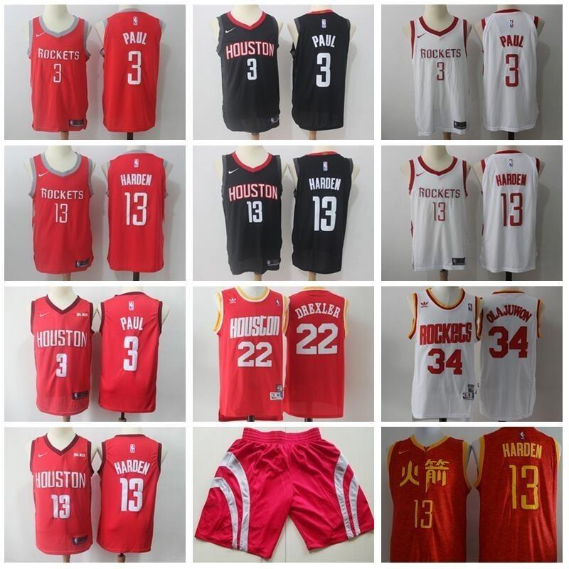 huge discount 5eb73 3a196 Houston Basketball Rockets James Harden Jersey 13 Chris Paul 3 Clyde  Drexler 22 Hakeem Olajuwon 34 Chinese Edition Earned City Men Short