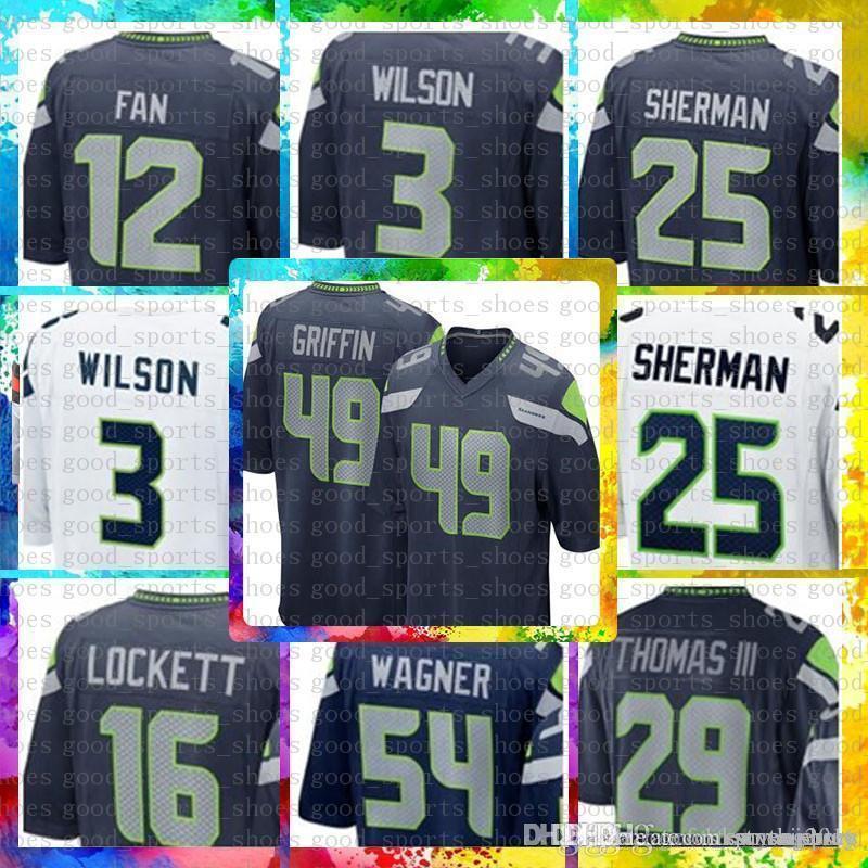 pretty nice 1369b 453f9 Top Sale 49 Shaquem Griffin 3 Russell Wilson Seattle Seahawks Jersey 12  12th Fan 12s 20 Rashaad Penny 31 Kam Chancellor 25 Richard Sherman