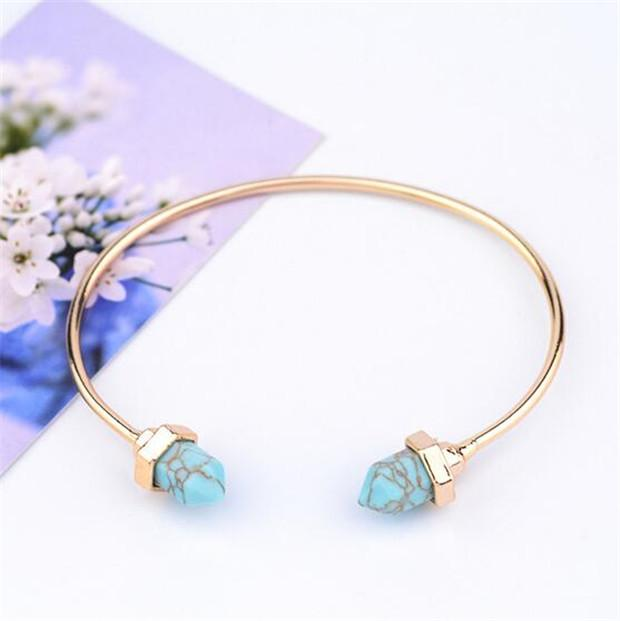 be81e030602 Gold & Silver Plated Cuff Bracelets Natural Stone Turquoise Bangles  Adjustable Men Women Fashion Fine Jewelry Perfect Gift K3458 Silver  Christening Bangle ...