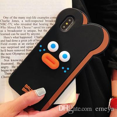 New 3D Cute Cartoon Toast Bread Bearded Rabbit 3D lip Duck Soft Silicone Phone Back Case Cover for iPhone X XS MAX XR 6 6S 7 8 Plus