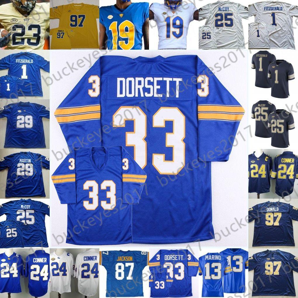ac522cc89c0 2019 NCAA Pittsburgh Panthers Pitt Blue White NCAA College Football Jerseys   13 Dan Marino 25 Darrelle Revis 29 Curtis Martin 33 Tony Dorsett From ...