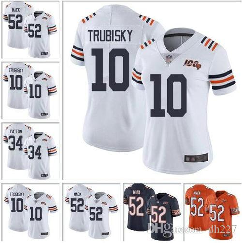 Uomo Chicago Bears Khalil Mack Jersey Walter Payton Mitchell Trubisky Mike Singletary Bianche 100 ° Stagione jers funzionario doganale di calcio