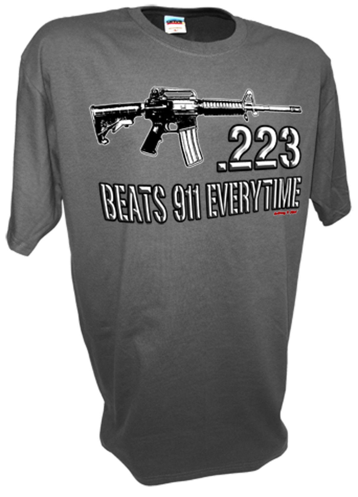 223 Caliber Assault Rifle Ar15 M16 Ak47 Colt 45 1911 Pro Guns Firearms 9mm  Tee 100% Cotton Cool short sleeve tshirt Tops