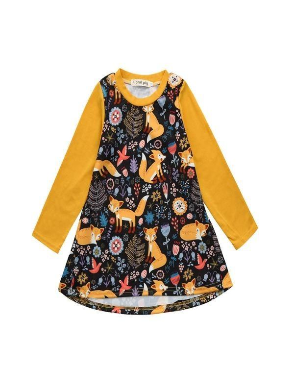 fe95b48e8 Dress Clothes Outfits Toddler Kids Baby Girls Dress Cartoon Fox Print Sun  Clothes Outfits Dresses Cheap Dresses Dress Clothes Outfits Toddler Kids  Baby ...