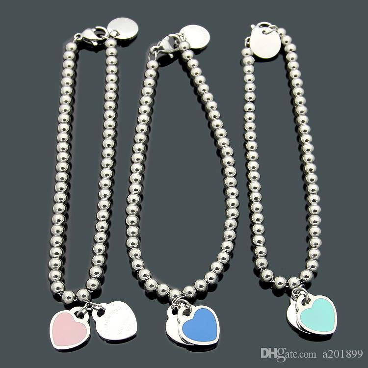 Ball Double Heart Pendant Bracelet for Women Drip Oil Plated Platinum Bracelet Jewelry