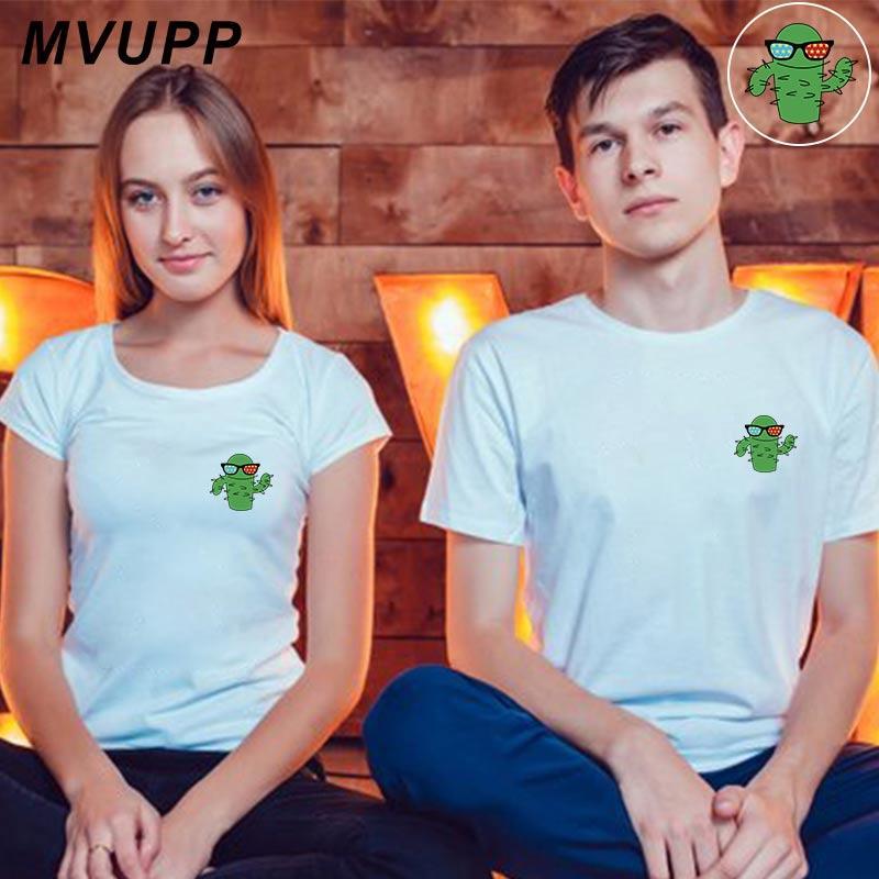 922365c99914 Pareja de cactus camiseta mujer y hombre ropa blanca tallas grandes para  amantes tee tops vestidos femme ulzzang gracioso esposo esposa familia