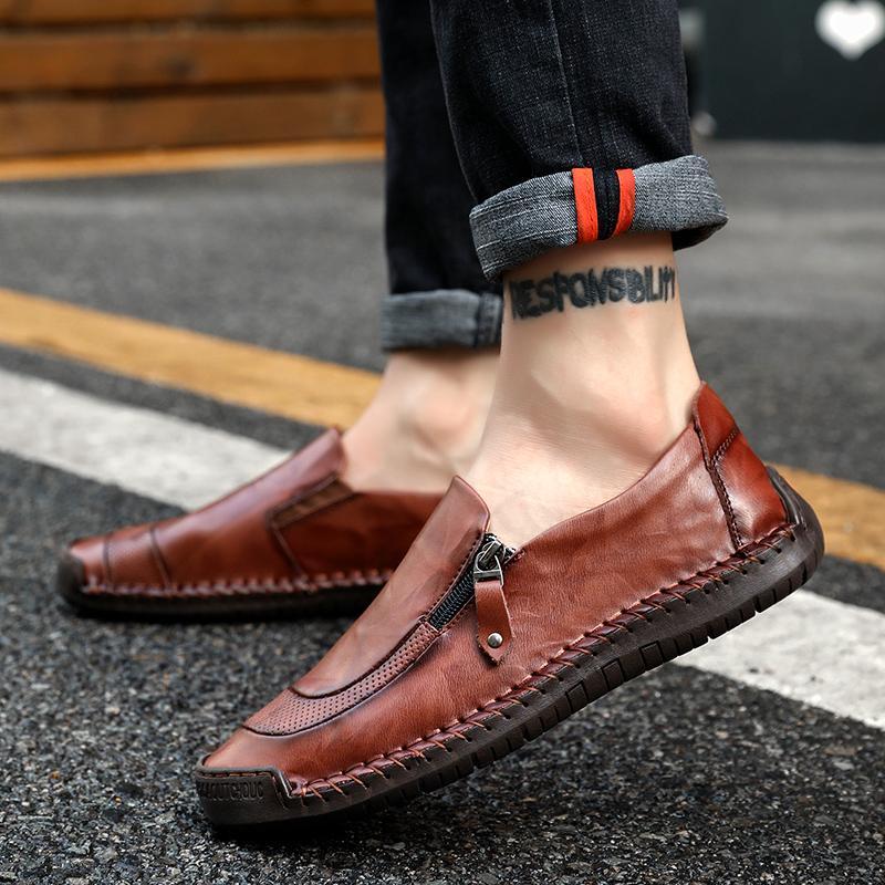 6cf69a09aef Compre Moda Hechos A Mano Para Hombres Zapatos Casuales Con Cremallera  Pisos Diseñador Hombres Calzado De Manejo Amarillo Negro De Cuero Zapatos  Para ...