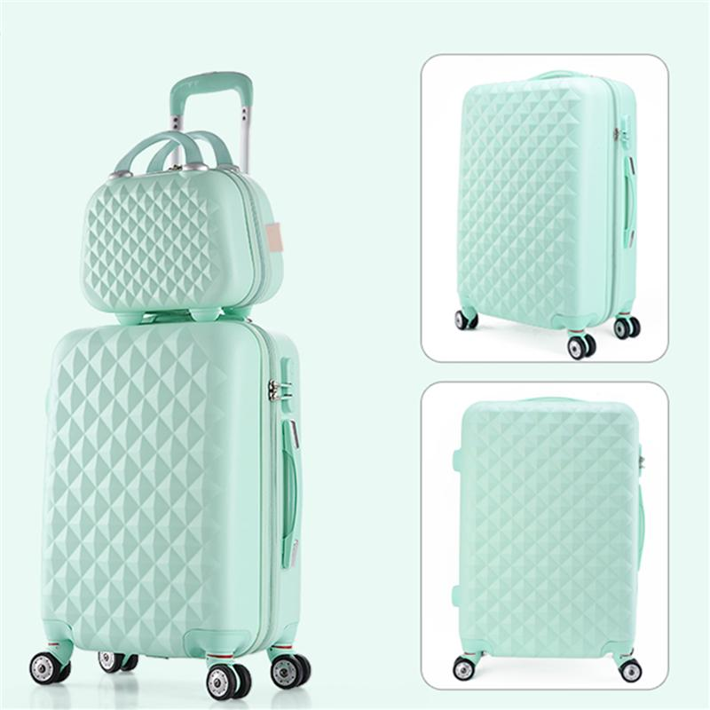 f13bce781 14 20 22 24 28inches(sold by 2 pieces set) abs+pc hardside trolley luggage  sets,blue,pink,green,red,purple candy luggage set