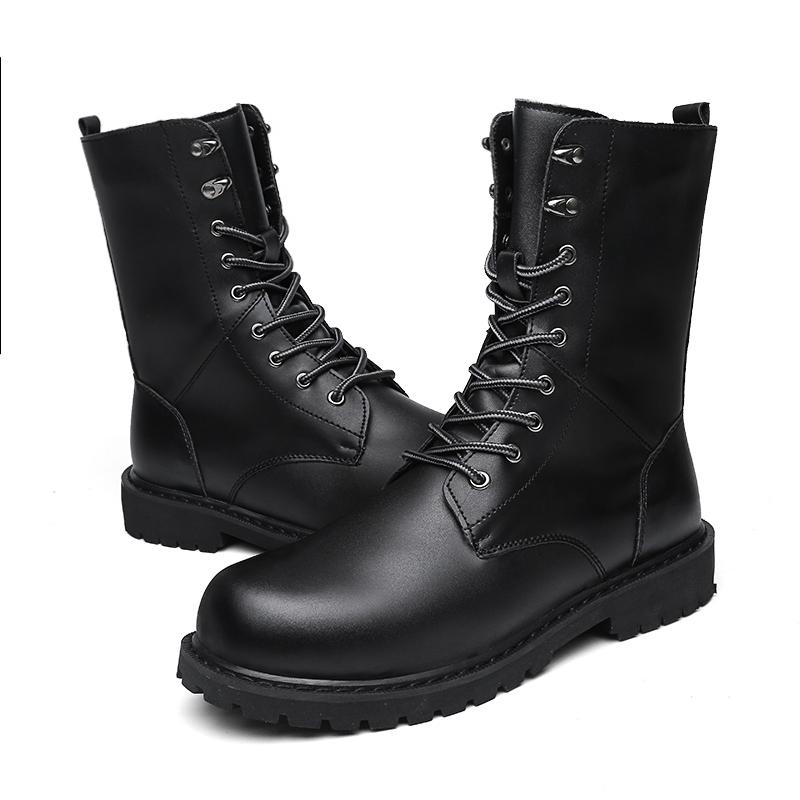 Mens Knight Boots 2019 Mid Leg Patent Leather Boots Long Military Boots For Man Waterproof Work Shoes Male Winter Motorcycle Boots Men's Shoes
