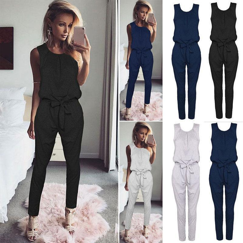 cbd0971c5ca 2019 Casual Women Jumpsuit Fashion Party Romper Long Pants Jumpsuits Jumper  Sleeveless Waist Tie Bow Body Suit Tracksuit From Jamie19