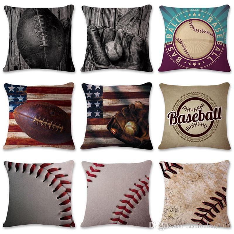 Cushion covers American and European baseball and football series linen pillowcase office pillow case size 45cm*45cm,no core included