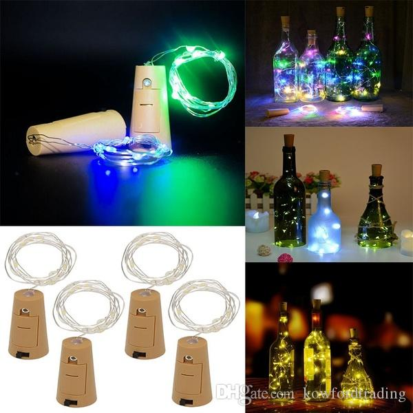 20 LED Bottle Cork String Lights Wine Bottle Fairy Mini Silver Wire, Battery Operated Starry lights for DIY Christmas