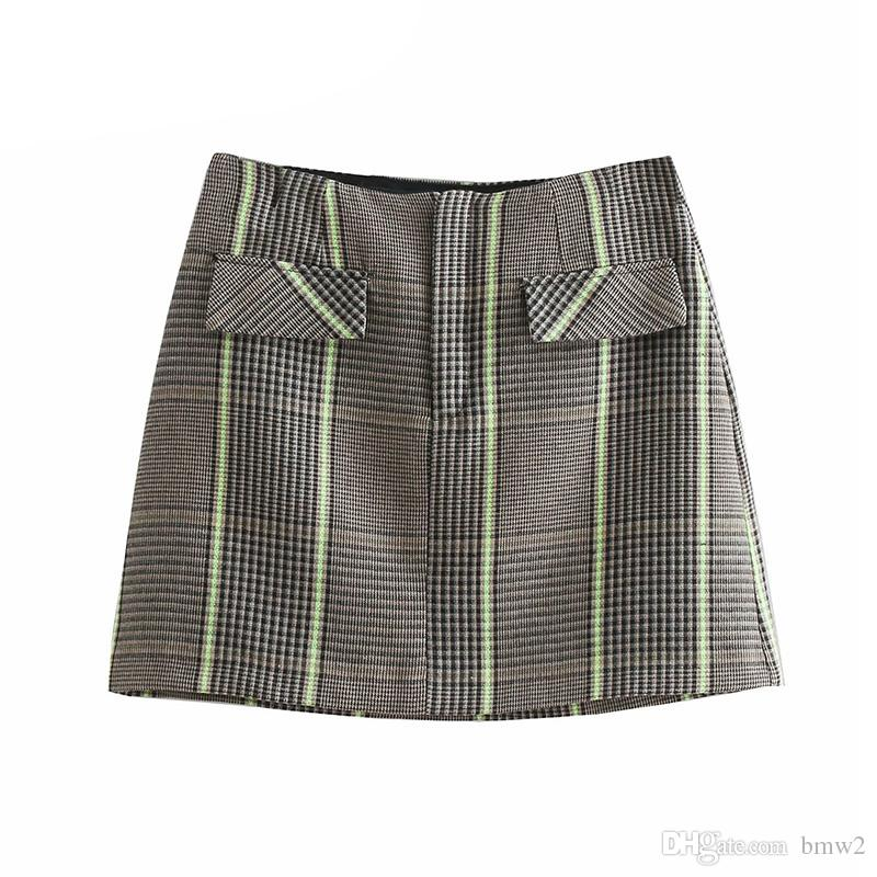 9b3e466642 2019 Vintage Elegant Pockets Plaid Mini Skirt Women 2019 Fashion A Line  Zipper Office Streetwear Ladies Skirts Casual Faldas Mujer From Bmw2, ...