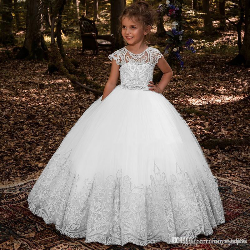 Lovey Holy Lace Princess Flower Girl Dresses 2019 Ball Gown First Communion Dresses For Girls Sleeveless Tulle Toddler Pageant Dresses