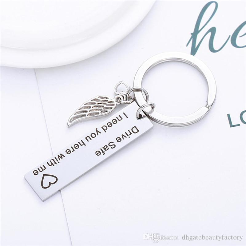 Wing Key Fob Chain Chic Stylish DIY Car Keychain DRIVE SAFE I NEED YOU HERE WITH ME Angel High Quality