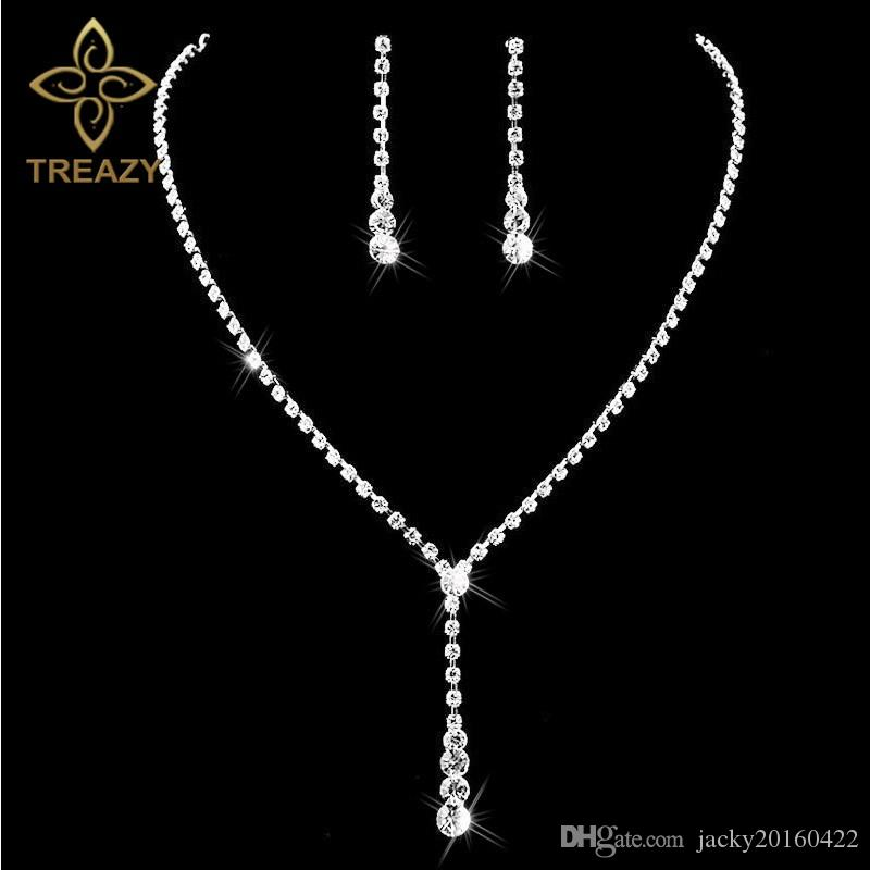TREAZY Silver Plated Celebrity Style Drop Crystal Necklace Earrings Set  Bridal Bridesmaid Wedding Jewelry Sets Online with  4.04 Dozen on  Jacky20160422 s ... ddc1770d6932