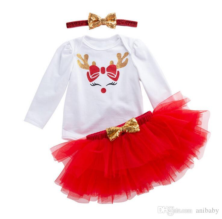 909254620 Compre Trajes De Navidad Para Bebés Niñas Venados De Navidad Alce Mameluco  + Tutu Faldas De Encaje + Diadema De Lentejuelas 3 Unids   Set Santa Niños  ...