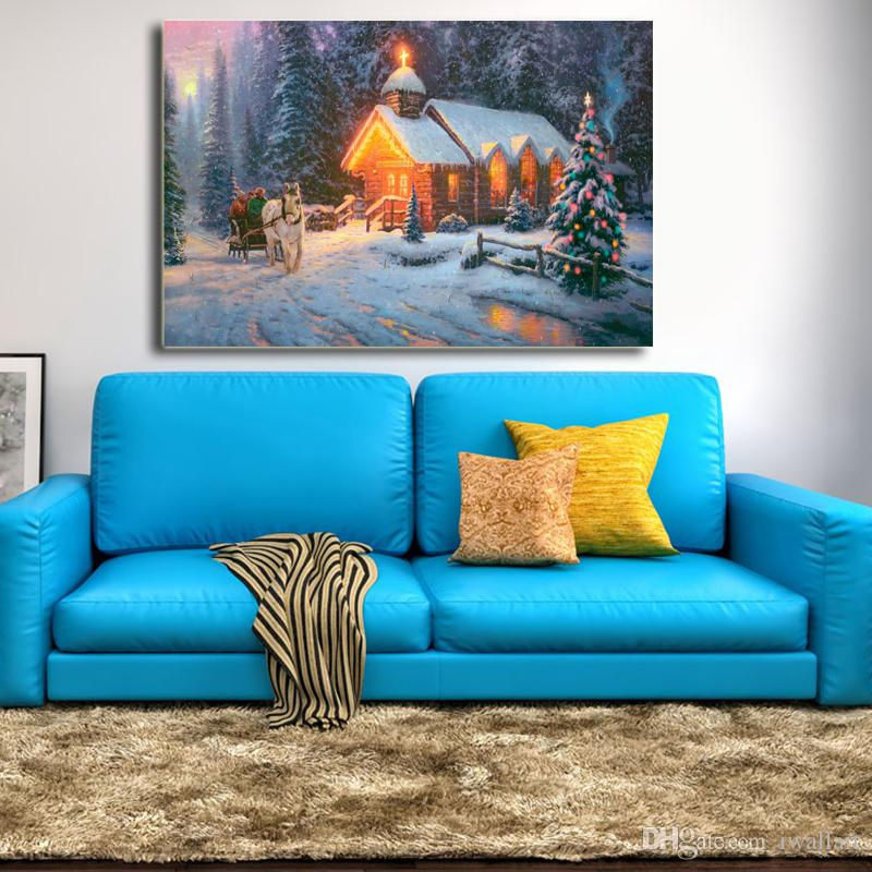 Thomas Kinkade Christmas Chapel Poster Canvas Painting Oil Framed Wall Art Print Pictures For Living Room Modern Home Decoracion Framework