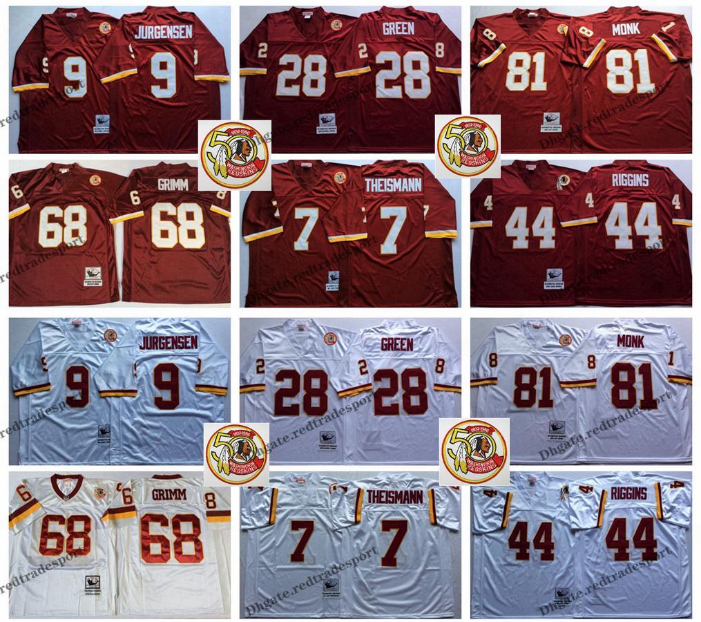 1ba6db83fe5 2019 Vintage Washington 81 Art Monk Redskins 9 Sonny Jurgensen 7 Joe  Theismann 44 John Riggins 28 Darrell Green 68 Russ Grimm Football Jerseys  From ...
