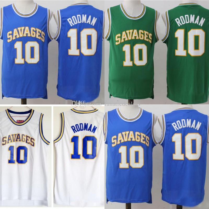 competitive price aaf69 d3a61 Oklahoma Savages 10 Dennis Rodman Jersey Mens Blue White Green College  Basketball Jersey University Shirt Stitched Free Shipping