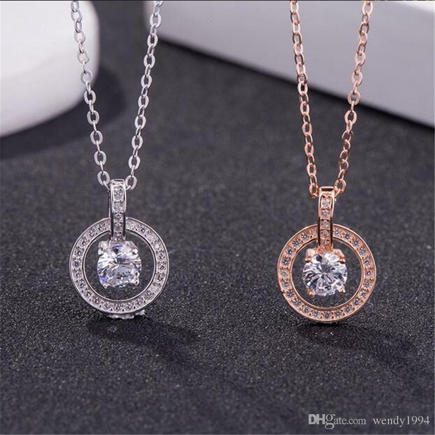 f9bd5d6aacc1 Compre Marcas De Lujo Diamante Redondo Diamante Único Collar Colgante De  Plata De Ley 925 Collar Para Mujer Regalo De Boda Regalo De San Valentín A   24.93 ...