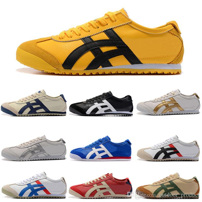 the latest 93ee5 b7456 NEWAsics Tiger Bruce lee Flat Onitsuka Running Shoes Mens And Womens  Comfortable Leather Zapatillas Athletic Outdoor Sport Sneakers 36-44
