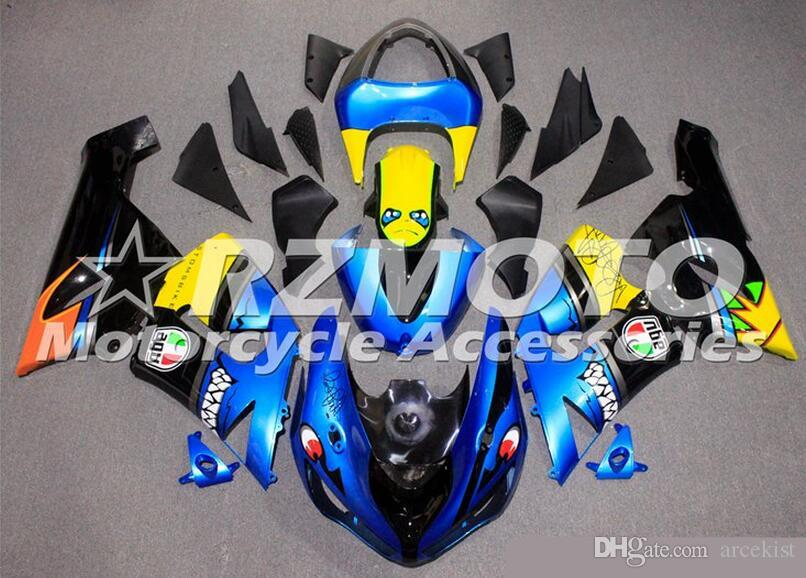 New Full ABS Fairing kits fit for 05 06 ZX 6R 636 2005 2006 kawasaki Ninja ZX6R ZX636 600cc ABS fairings set Custom Shark