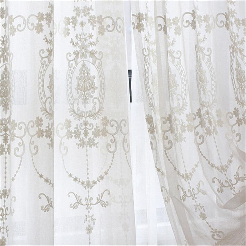 Embroidered White Tulle Curtains For Living Room European Voile